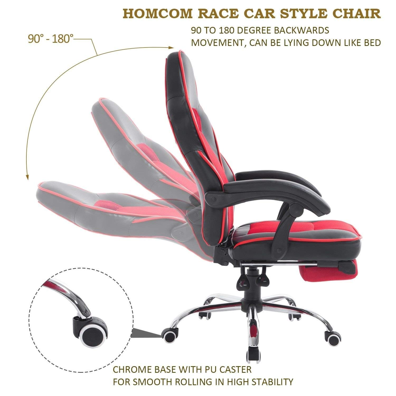 HomCom High Back Race Car Style Leather Reclining Office Chair