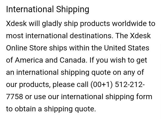 Xdesk International Shipping