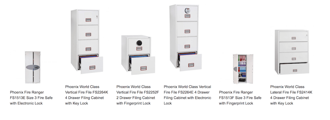 Phoenix Archivo Fire File Filing Cabinet with Key Lock